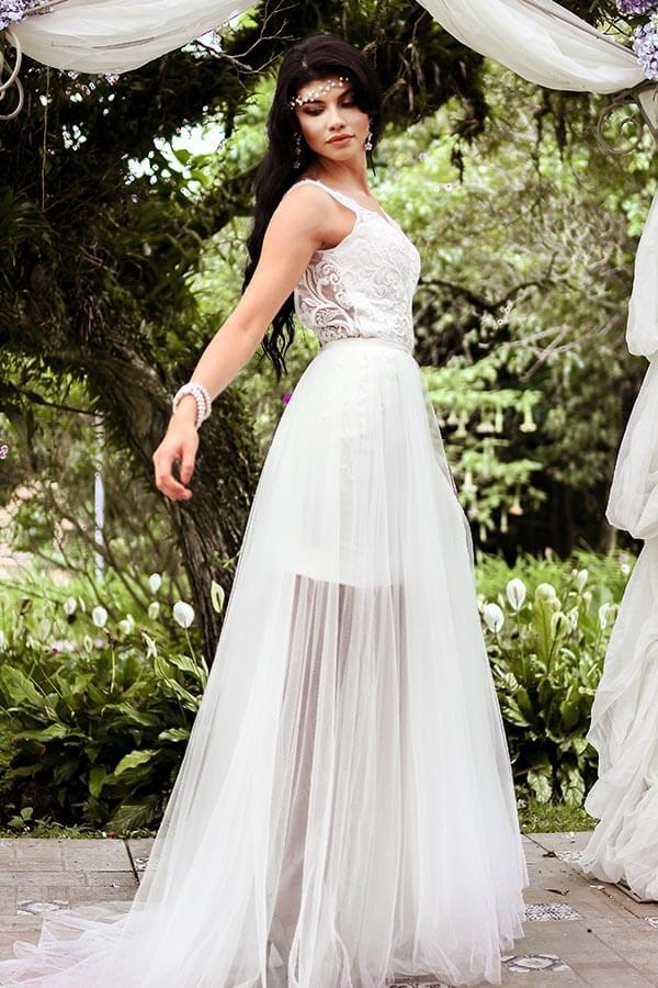 Mini Wedding Dress with Detachable Skirt