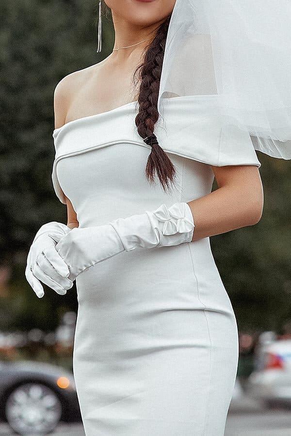 Satin Off Shoulders Wedding Gown