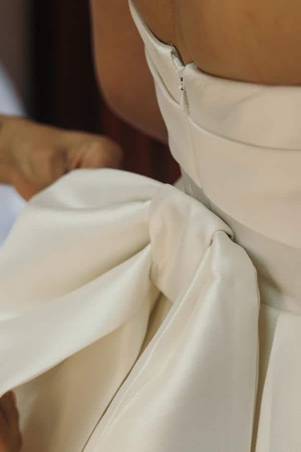 Satin Wedding Dress with Bow